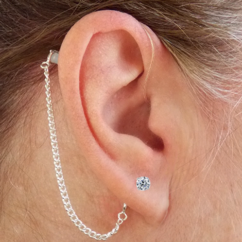 CZ Pierced Stud Earring 14K White Gold (For Hearing Aids)