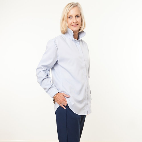 Soft Blue Velcro Closures Blouse by Bee Yourself Apparel