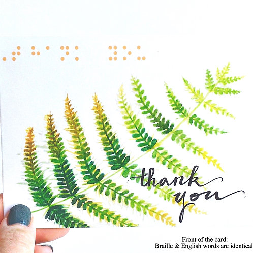 "Pack of 3 ""Thank You"" Fern Cards with Braille by Inclusive Greetings"