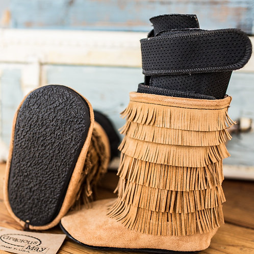 Chestnut Suede Moccasin Boots by Shoes for AFO's by Gracious May