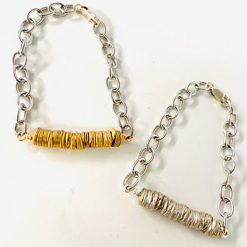 Metal Heishi and Stainless Steel Chain Fidget Bracelet by Lux + Luca Jewelry Co