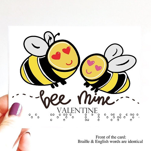 "Pack of 3 ""Bee Mine Valentine"" Braille Cards by Inclusive Greetings"