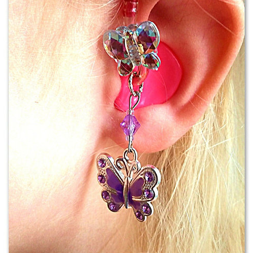 Jeweled Butterfly Hearing Aid Charms + Tube Trinkets by Purple Cat Aid Charms