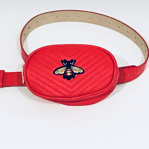 Red Bumble Bee Monte Carlo Belt Bag by Haute Shore