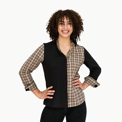 Black with Tan Color-Blocking Velcro Closures Long Sleeve Blouse