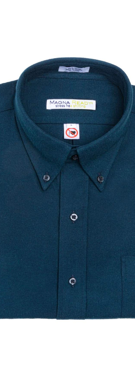 Dark Teal Flannel Magnetic Closures Shirt