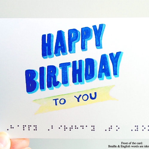 """Pack of 3 """"Happy Birthday To You"""" Braille Cards by Inclusive Greetings"""