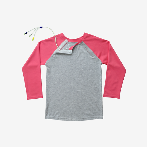 Shoulder Snap Port Access Baseball Tee - Coral by Abilitee Adaptive Wear