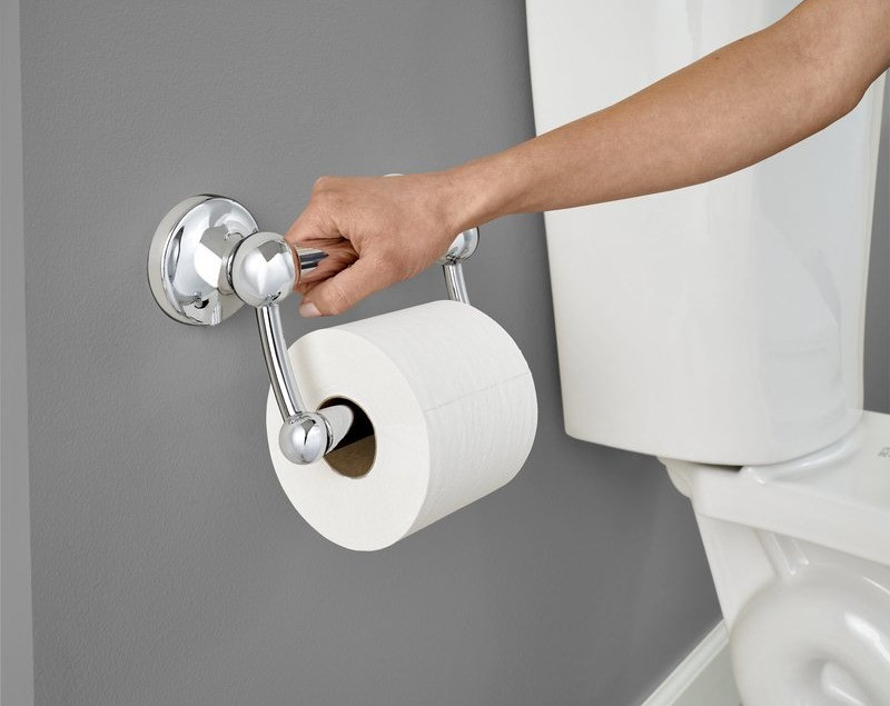 This is an image of a white, female model using this toliet paper holder with an assist bar. She is holding on to it to get off or onto the toilet. When you are looking at this Polished Chrome toilet paper holder you would never know it is also an assist bar.