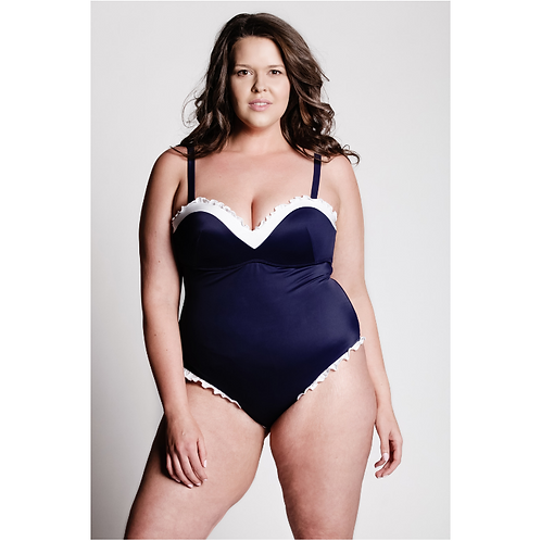 Navy Blue Ruffle Byoot Swimsuit - 3 Buttons on Each Hip by Byoot Company
