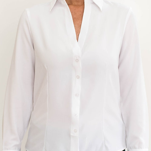 White Velcro Closures Long Sleeve Blouse by Smart Adaptive Clothing