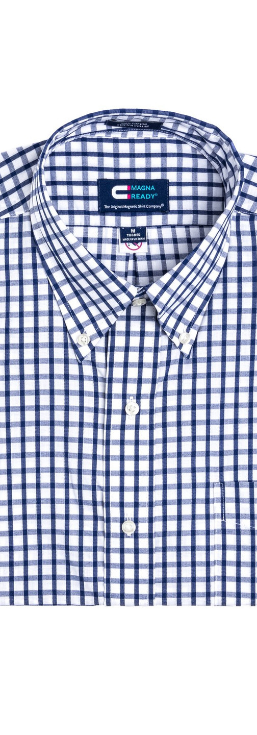 Navy and White Grid Check Magnetic Closures Dress Shirt