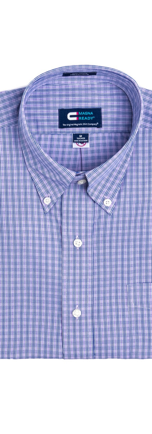 Blue and Purple Check Magnetic Closures Dress Shirt