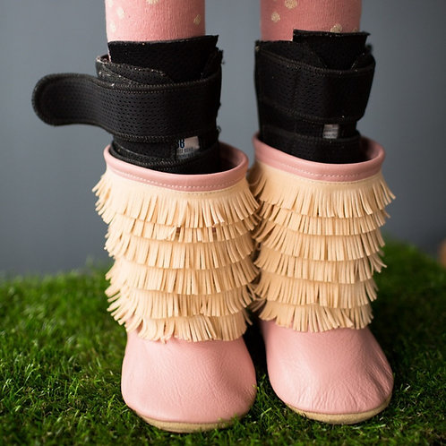 Blush Pink Fringe Boots by Shoes for AFO's by Gracious May