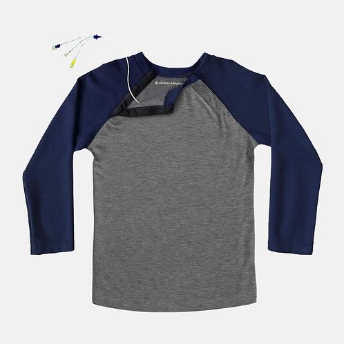 Shoulder Snap Port Access Baseball Tee - Navy by Abilitee Adaptive Wear