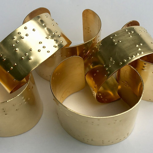 Personalized Braille Printed Brass Cuff Bracelets by 'Braille'iant