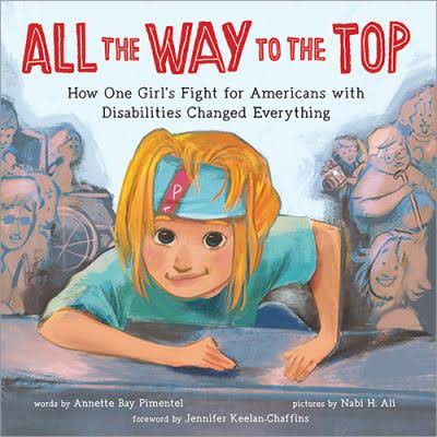 "This image is the cover the new kids book, ""All The Way To The Top"". The cover has a drawing of Jennifer Keelan-Chaffins climbing the stairs of the US Capital. She is a white little girl with blonde hair and a turquoise blue t-shirt that matches her bandana headband."