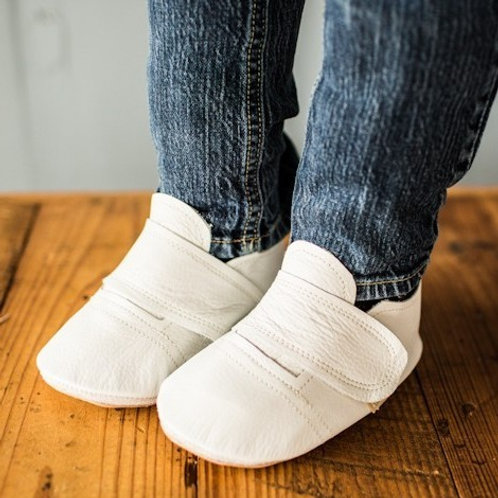 White Leather Sneakers by Shoes for AFO's by Gracious May