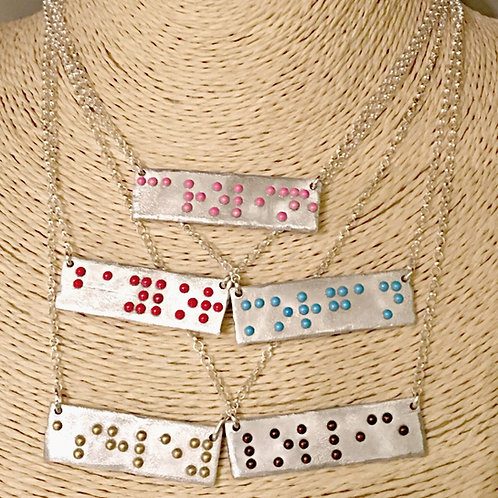 Silver Bar Braille Printed Personalized Necklace by 'Braille'iant