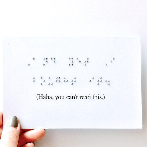 """Pack of 3 """"And yet I bought it."""" Braille Humor Cards by Inclusive Greetings"""