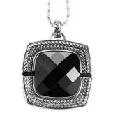 Black Stone with Rhode Cushion Emergency Alert Pendant