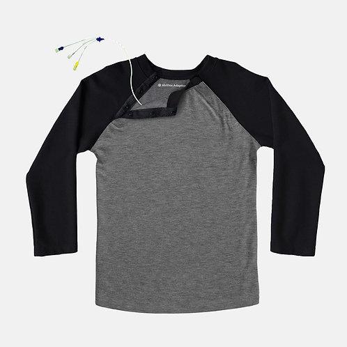 Shoulder Snap Port Access Baseball Tee - Black by Abilitee Adaptive Wear