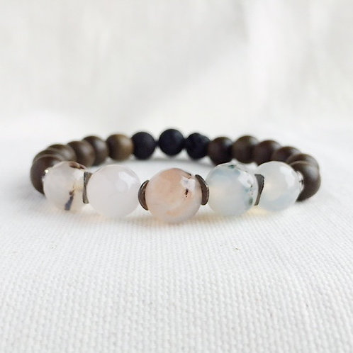 Natural Agate Essential Oil Diffuser Bracelet by Essential Adornment