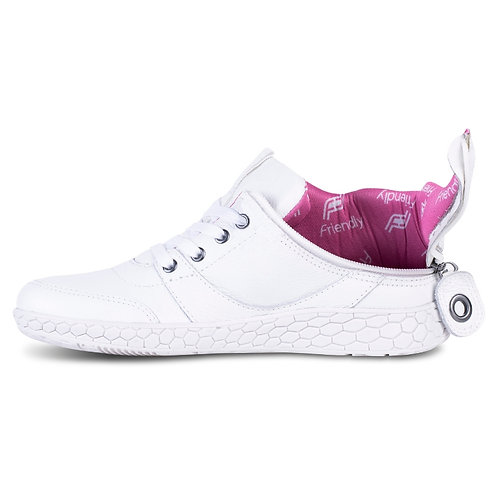 Women's Medimoto White Leather Shoe by Friendly Shoes
