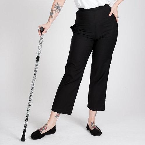 'Nicki' Petite Black Trousers with Hidden Side Zips by Kintsugi