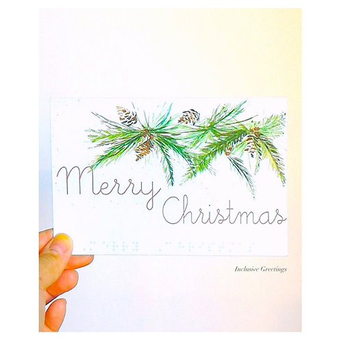 """Pack of 3 """"Merry Christmas"""" Braille Cards by Inclusive Greetings"""