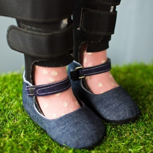 Simple Denim Mary Jane by Shoes for AFO's by Gracious May