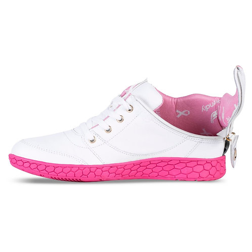 Women's Medimoto White and Pink Leather Shoe by Friendly Shoes