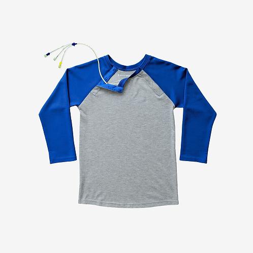 Shoulder Snap Port Access Baseball Tee - Cobalt Blue by Spoonie Threads
