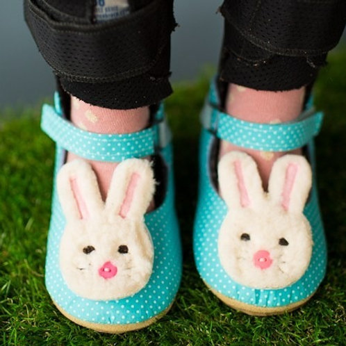 Aqua Bunnies Mary Jane by Shoes for AFO's by Gracious May