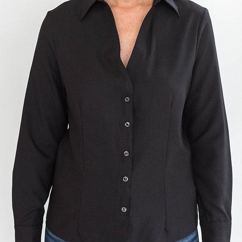 Black Velcro Closures Long Sleeve Blouse by Smart Adaptive Clothing