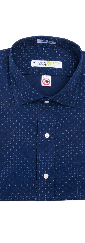 Navy and White Diamond Print Magnetic Closures Dress Shirt
