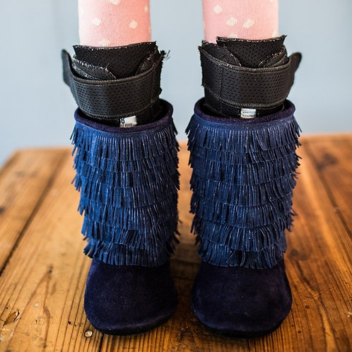 Navy Suede Moccasin Boots by Shoes for AFO's by Gracious May