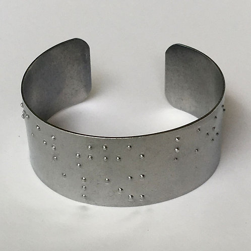 Personalized Aluminum Braille Printed Cuff Bracelets by 'Braille'iant