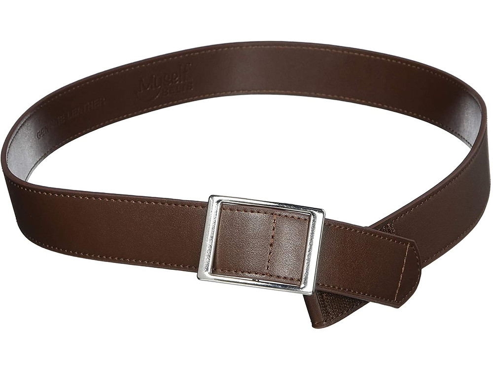 Classic brown leather belt with faux silver buclkle.