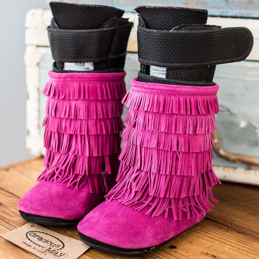 Azalea Pink Moccasin Boots