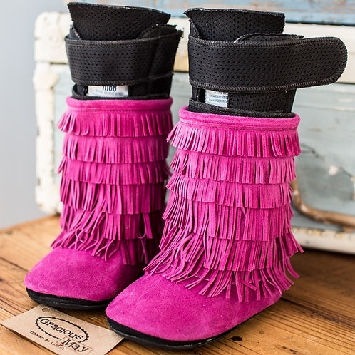 Azalea Pink Moccasin Boots by Shoes for AFO's by Gracious May