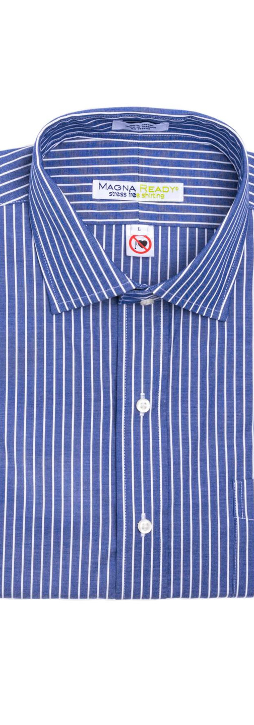 Navy and White Stripe Magnetic Closures Dress Shirt