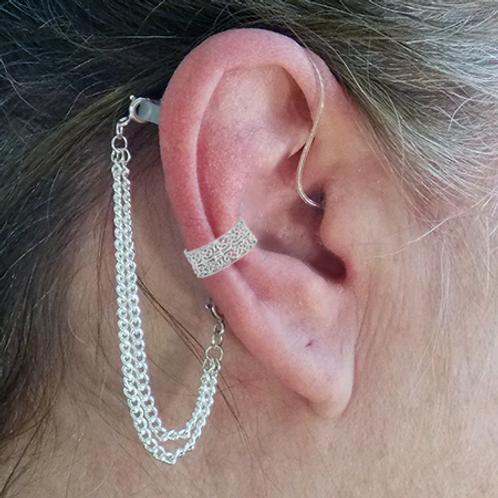 """Intricate Filigree""14K White Gold Ear Cuff (For Hearing Aids)"