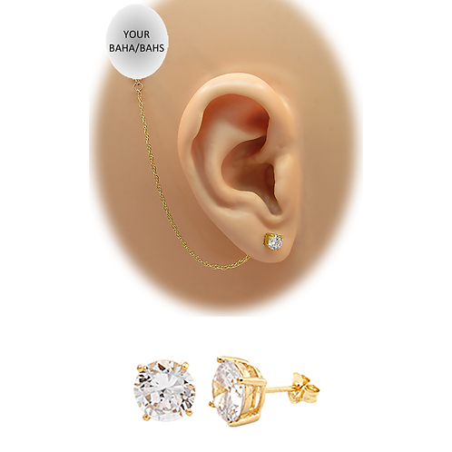 CZ Pierced Stud Earring 14K Yellow Gold (For BAHS) by HearClip