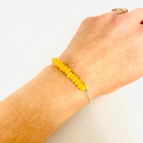 Yellow Agate Stone and Sterling Silver Fidget Bracelet by Lux + Luca Jewelry Co