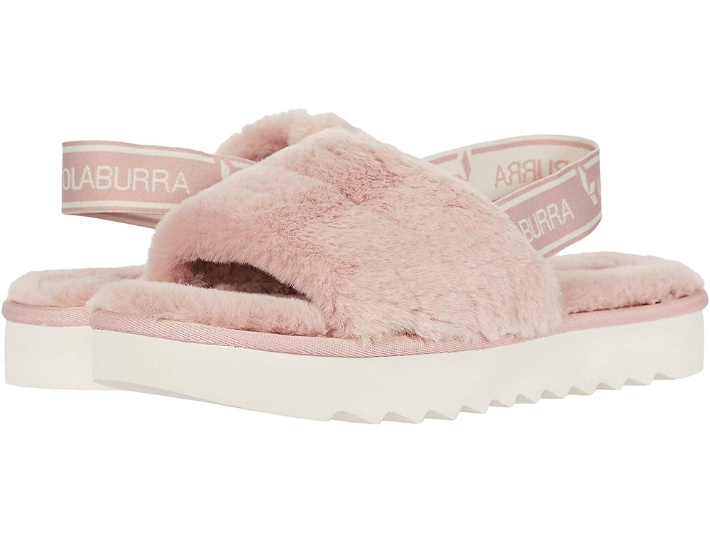Fuffy pink slide-in slippers with elastic back that holds foot.