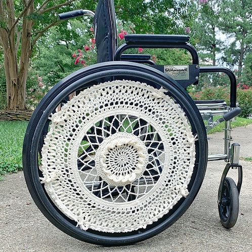Adventure Ivory Crocheted Wheelchair Wheel Covers by Different View Designs