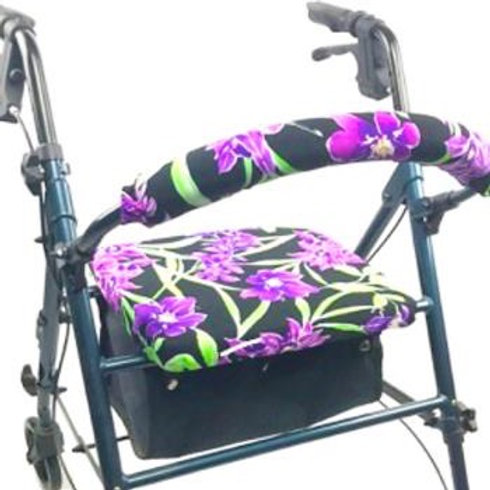 Purple Flowers Rollator Walker Covers Set by Crutcheze