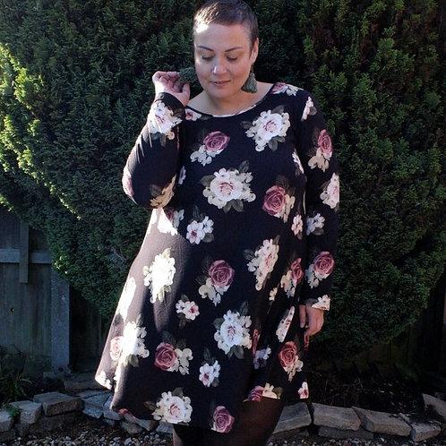 'Georgie' Dark Floral Plus Size Dress by Kintsugi