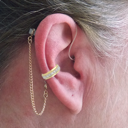 """CZ Band"" 14K Yellow Gold Ear Cuff (For Hearing Aids) by HearClip"